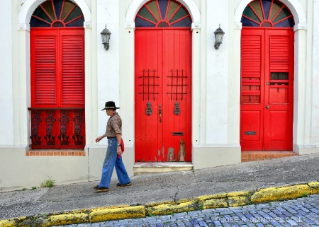 STROLLING PAST RED, OLD SAN JUAN