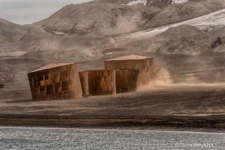 Whaling port & rusted storage tanks,Antarctica