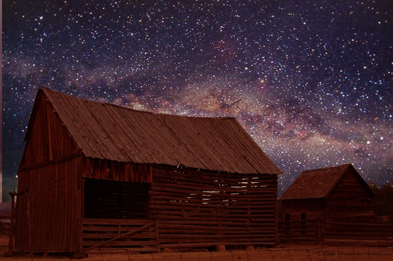 Old barn at night