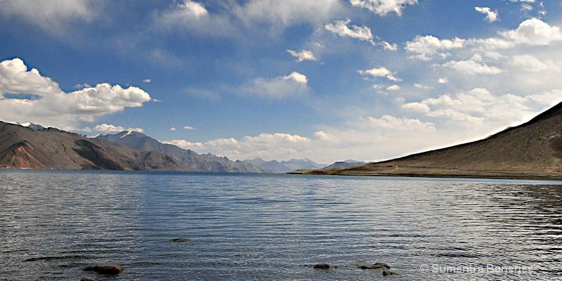 panograph  beautiful pangong lake  ladakh