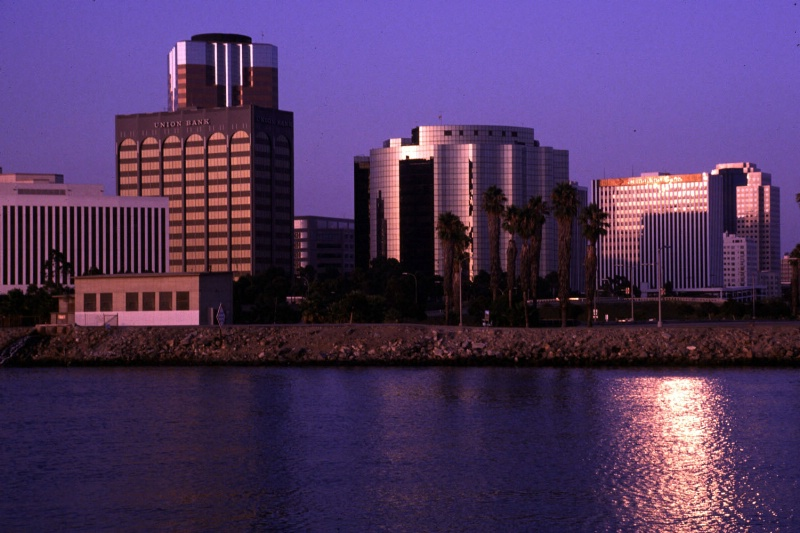Long Beach city skyline at dusk, CA