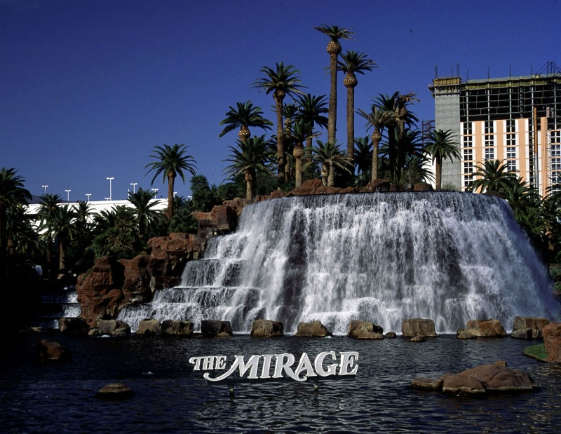 Mirage Hotel waterfall midday, Las Vegas