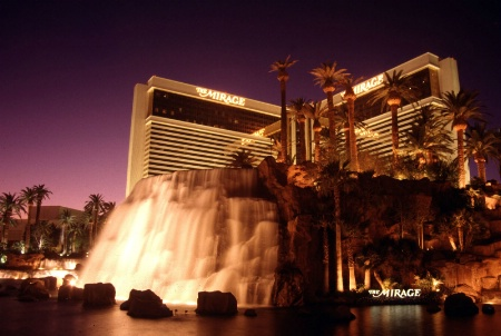 Mirage Hotel waterfall at dusk, Las Vegas