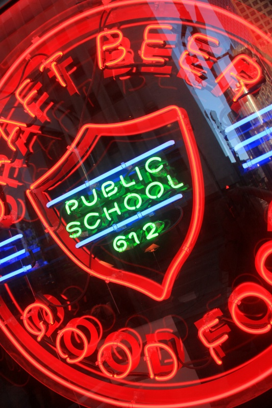 Neon sign in restaurant window, L.A.