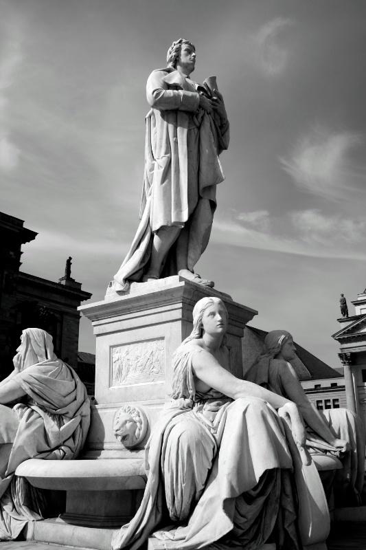 Statues in Berlin Plaza, B/W