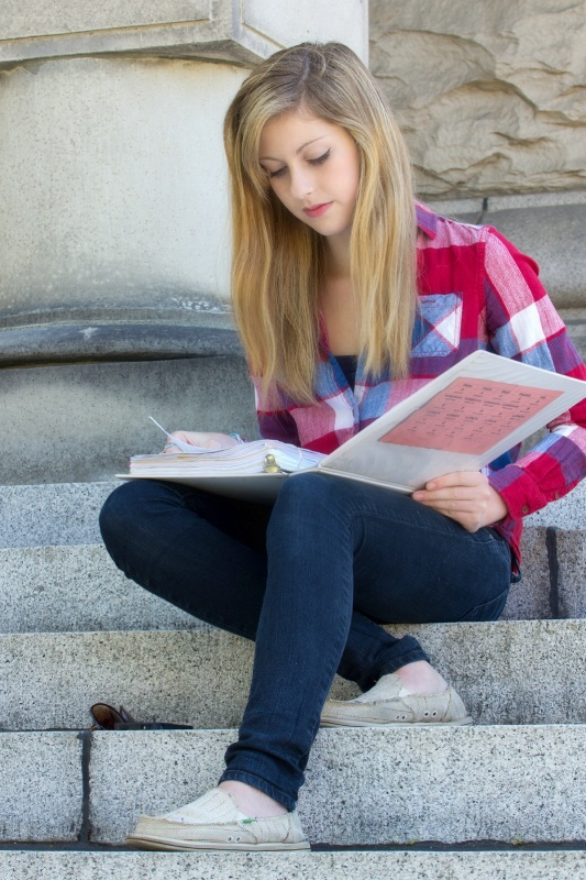 Studying on the steps