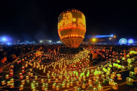 Fire balloon in myanmar