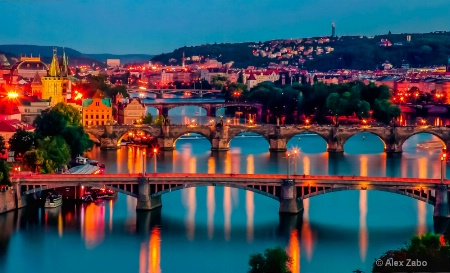 Dusk over Vltava River, Prague