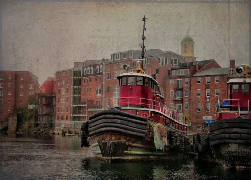 Tugs in Portsmouth, NH on a grey day
