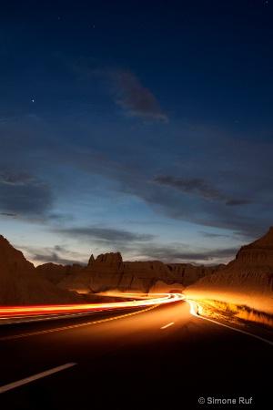light streams under the stars