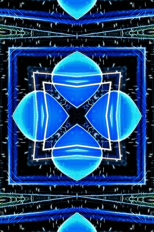 Blue Glass -- Fractalius + Kaleidoscope - ID: 13653016 © Don Johnson