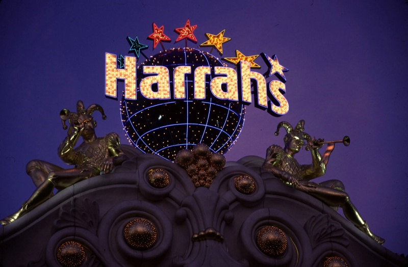 Harrah's sign at dusk, Las Vegas, NV