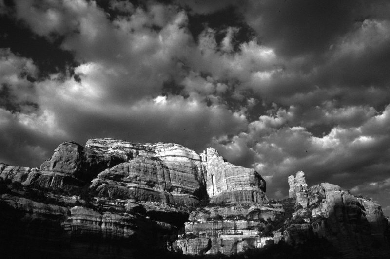 Dramatic light on rocks and clouds in Sedona, AZ