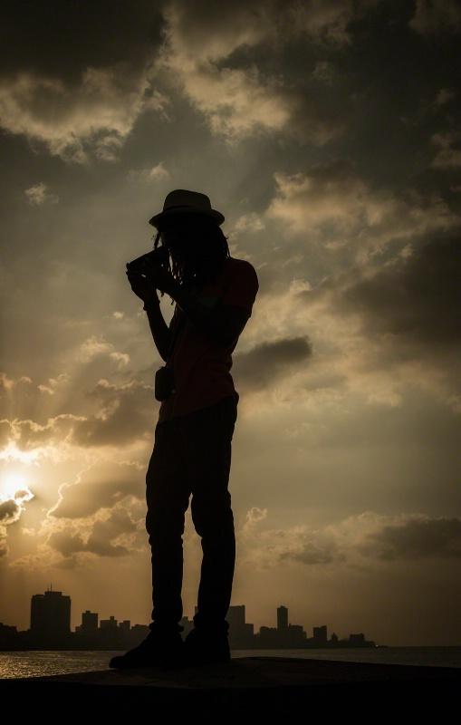 Silhouette on the Malecon - Havana, Cuba