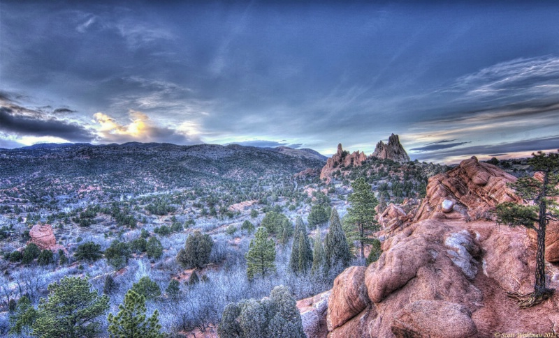 The Sun Goes Down Over The Garden Of The Gods