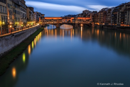 Reflections alon the Arno River in Florence