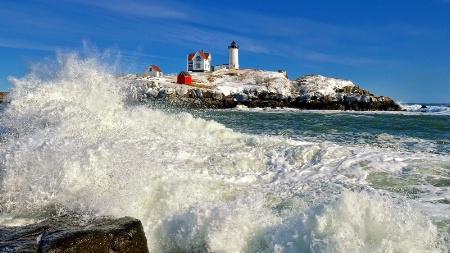 Crashing Waves At Nubble Lighthouse