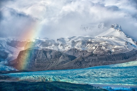 blue glacier rainbow