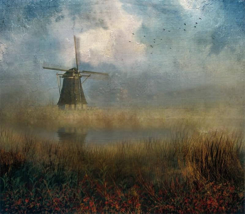 Windmill in mist