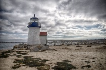 Stormy skies over Brant Point lighthouse Nantucket