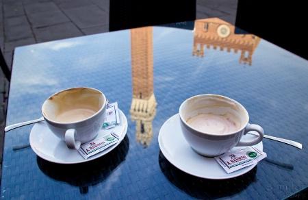 Cappuccinos on Piazza del Campo, Siena, Italy