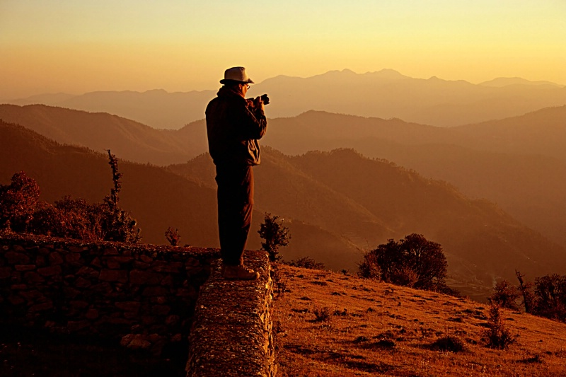 Photographer in golden light