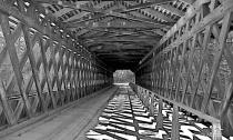 Lattice Covered Bridge in B&W