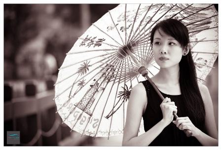 Cheryl under umbrella