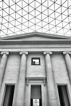 British museum in Greyscale