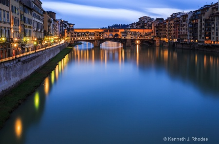 The Arno RIver and Ponte Vecchio at Twilight