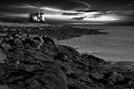Prospect Harbor Light At Evening