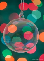 Christmas Ornament and Lights Green Background