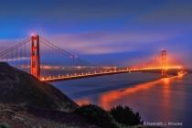 Landmarks at Twilight - Golden Gate Bridge