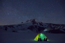 The lights of Mountain Climbers and Snow Campers.