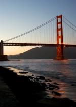 Golden Gate Bridge tower sunset