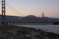pier with golden gate bridge