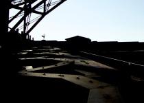 silhouette under golden gate bridge