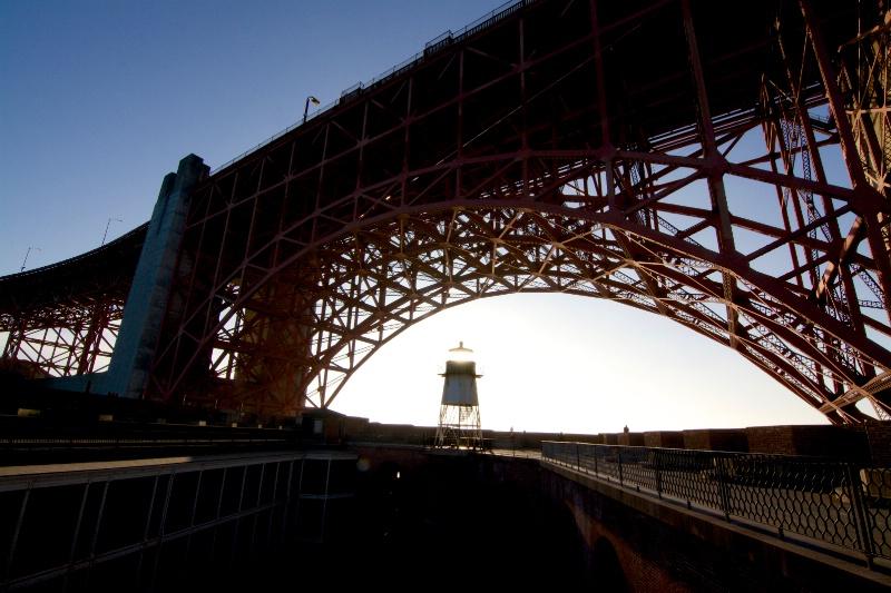 sunset under golden gate bridge