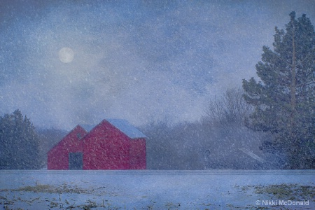 Red Barns in Falling Snow
