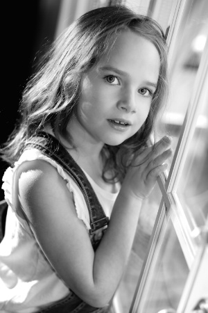 Reese in Overalls B&W 2