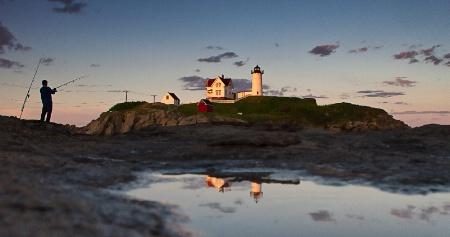 Fishing at Nubble Lighthouse