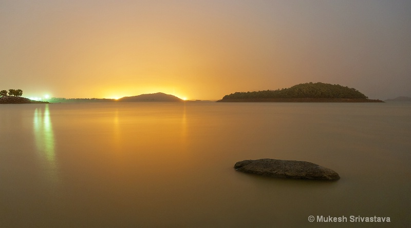 Serene Night View of Maithan Dam