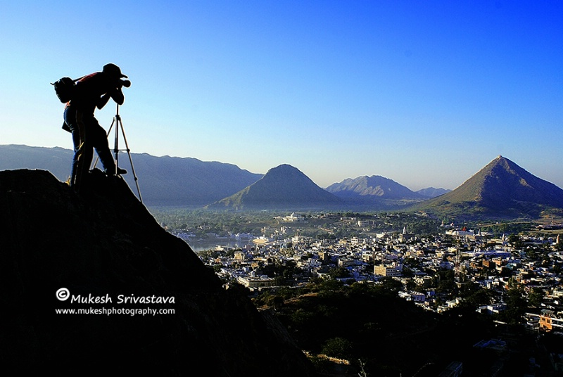 A Serious Photographer At Pushkar Hills