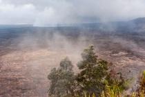 volcano nat park--kiluea--across caldera--smoke fr