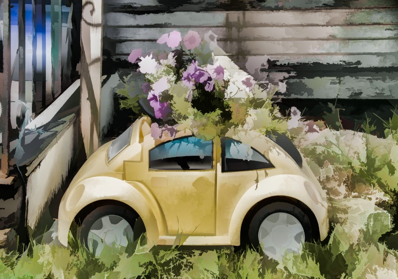 A fun use of flowers in a VW!