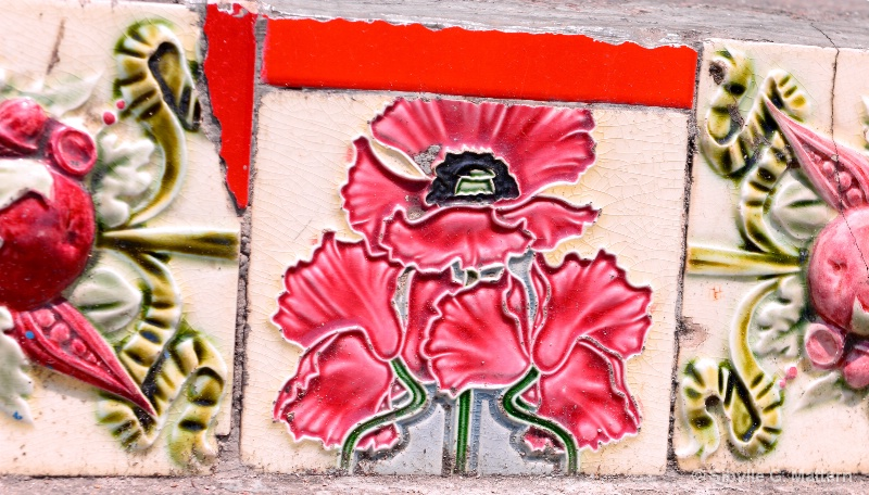 Ceramic poppy, Selaron steps, Rio de Janeiro - ID: 14710029 © Sibylle G. Mattern