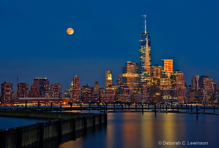 New York with Super Moon