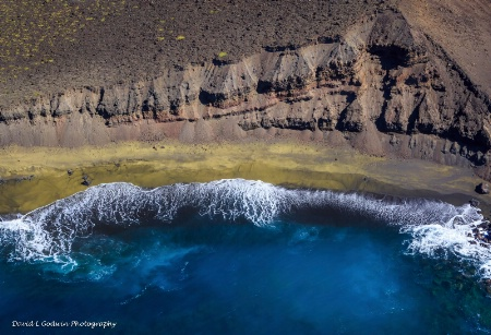 Helicopter View of Green Sand Beach