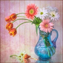 Blue Vase With Flowers 8286