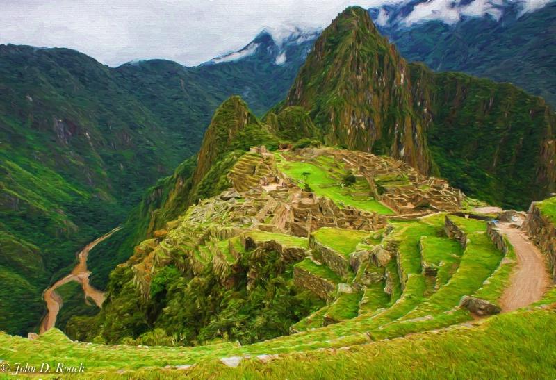 Machu Picchu rendered as an oil painting - ID: 14866519 © John D. Roach